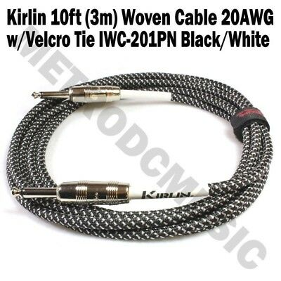Kirlin 10ft Guitar Instrument Cable+Cable Tie Black White Tweed Woven Cord 3m