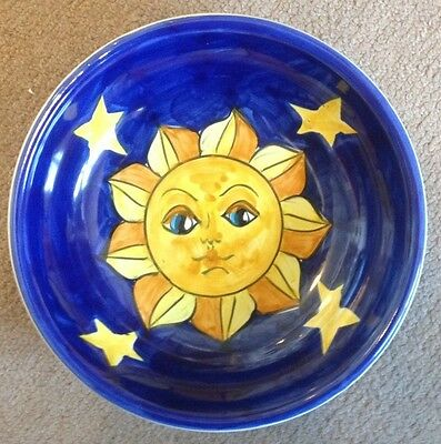 Vietri pottery-7,1/2 inch bowl with sun and moon patternON SALE.Made in Italy