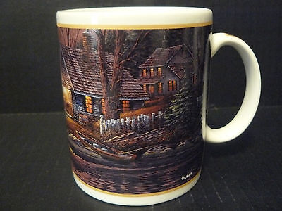1998 Terry Redlin Quiet Of The Evening Coffee Cup Mug Log Cabin 12oz New Nice!