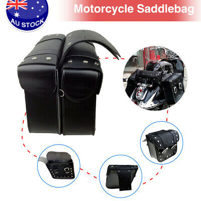 Universal Motorcycle Saddlebags Pannier Leather Pouch Bag Saddle Bags Black New