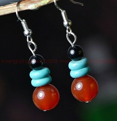 Original handmade lucky turquoise sliced red agate beads earrings Y016