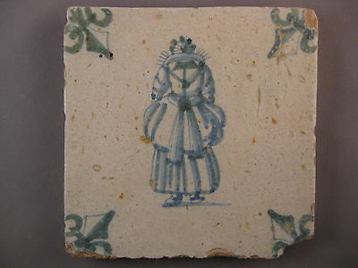 Antique Dutch Tile human green color very rare 17th century -free shipping