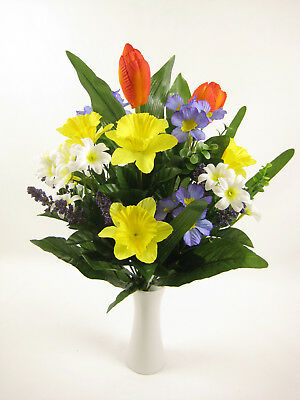 Artificial Flowers Tulip Daffodil Primrose Spring Mixed Bush Table Arrangement