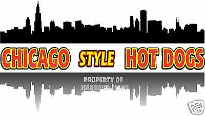 """Chicago Style Hot Dogs Decal 14"""" Concession Restaurant  Food Truck Sign Sticker"""