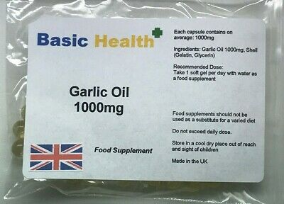 Garlic Oil Soft Gels x 30 1000mg Strong Odourless Cholesterol Heart Circulation