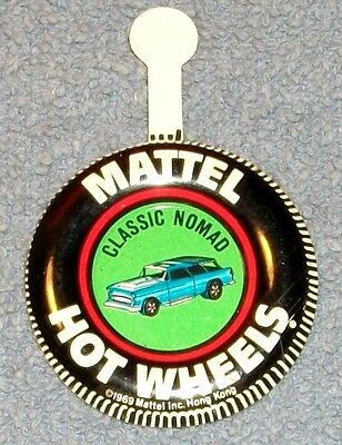 Vintage 1969 Hot Wheels Metal Collectors Buttons Classic Nomad Mattel
