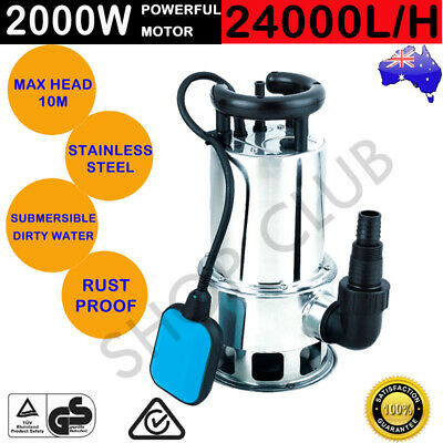 2000W Submersible Dirty Water Pump Bore Sewage Septic Tank Garden Sewerage Clean