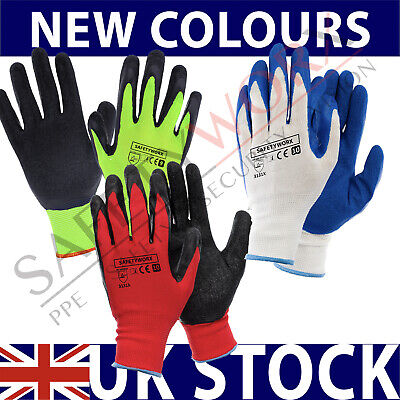 24 Pairs Nylon Latex Rubber Coated Palm Safety Grip Work Gloves Builders Garden
