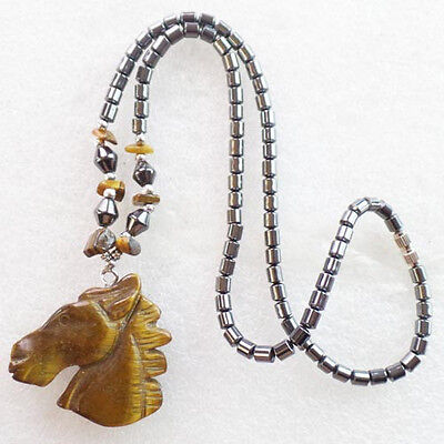 LL0528 Beautiful Carved Tiger Eye Gem Horse's Head & Hematite Necklace 17.5 inch