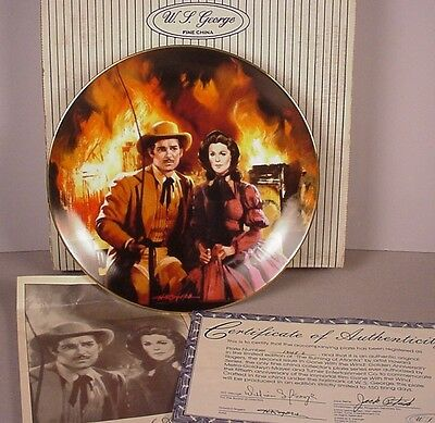 Gone with the Wind Collector Plate ; Burning of Atlanta 1988 GWTW MIB w/ COA