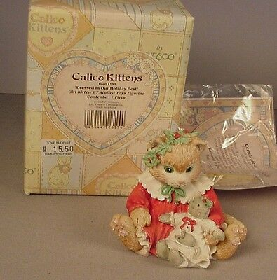 Enesco Calico Kittens figurine Dressed in our Holiday Best MIB #628190 NOS  1993