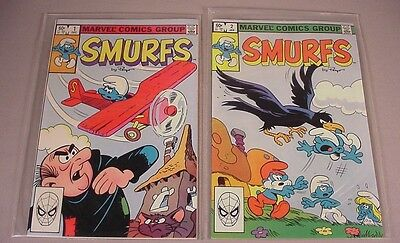 1982 Smurfs Comics Books #1 first Comic, & #2, Smurf vintage toys High grade