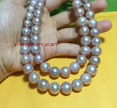 """AAAAA 35""""11-12mm real natural south sea pink PURPLES pearl necklace 14K GOLD"""