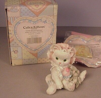 Enesco Calico Kittens figurine Love's Special Delivery MIB #628425 NOS cats 1992
