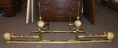 Vintage Victorian Solid Brass & Onyx Andirons W/ Matching Fender Mantel Cover