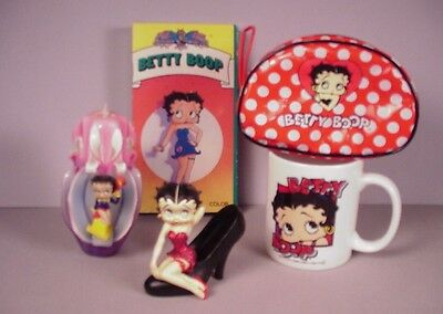 Vintage Betty Boop 5 collectibles cartoon Flapper Doll mug candle purse candle