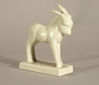 Rookwood Pottery production figural donkey paperweight 1932 matte ivory white