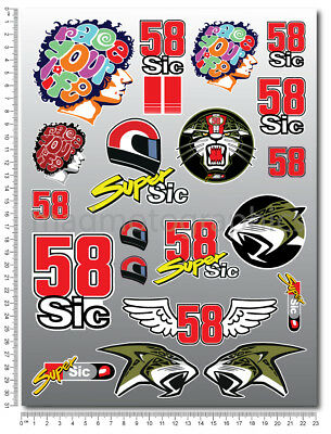 Marco Simoncelli 58 Super Sic decals set 9.4x12.6 in sheet 20 stickers moto gp