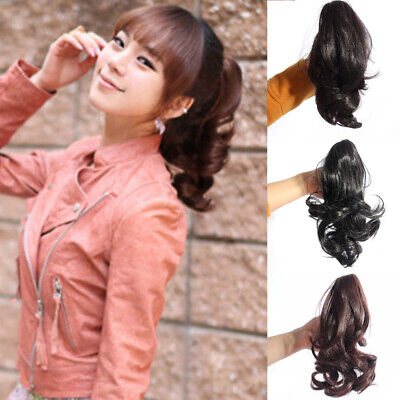Women's Lady Curly Wavy Short Ponytail Hairpiece Claw Clip-on Hair Extensions