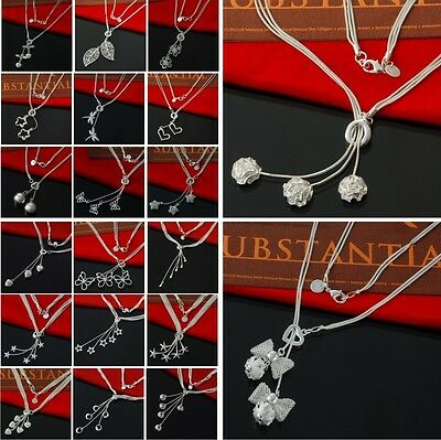 Wholesale Fashion Jewelry Bijoux 925 Sterling Silver Plated Pendant Necklace