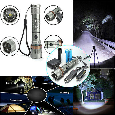 2000LM CREE XM-L T6 LED Rechargeable Flashlight Zoom Torch & 2x 18650 & Charger