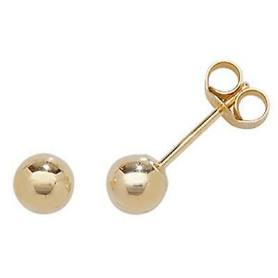9ct Yellow Gold Ball Stud Earrings 4mm - New