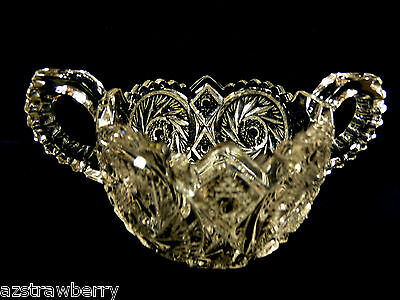 VTG Clear Press Cut Glass Open Sugar Bowl scalloped edge two handles