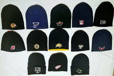 Nhl Knit Beanie Winter Cap Hat Cuffed & Uncuffed Styles Pick Your Teams Beanie