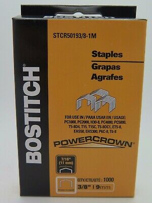 1 x Bostitch Tacker Staples STCR5019 3/8 9mm 1000Box STCR501910MM1M