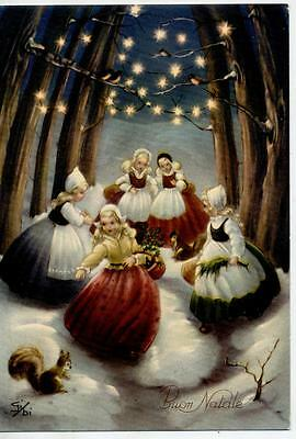 Girls in Magic Xmas Lights Atmosphere Snow Vintage PC Circa 1950 Italy A