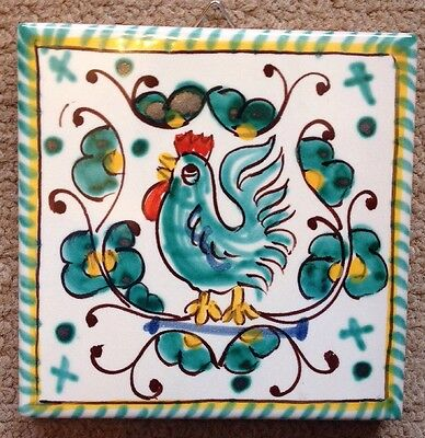 Deruta Pottery-4x4 inch tile Rooster made/painted by hand in Italy