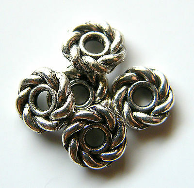 100pcs 8x2mm Metal Alloy Ring Spacer Beads - Antique Silver