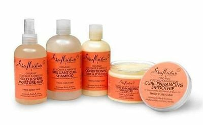 Shea Moisture Organic Coconut & Hibiscus Haircare Bundle- 4pcs,Thick, Curly Hair