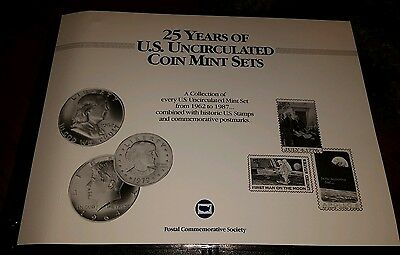Postal Commemorative Society 25 Years US Uncirculated Coin Mint Sets Cover Panel
