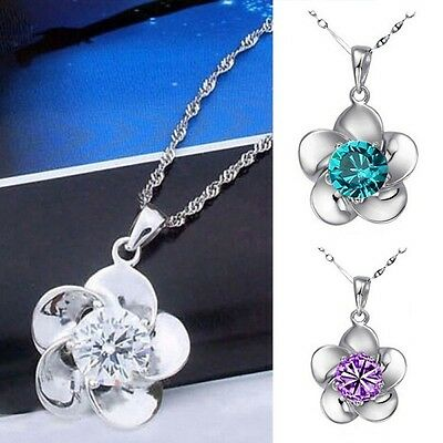New 925 Sterling Silver Lady Charming Flower Pendant Necklace Crystal Chain S91