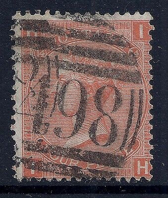 1873 GB SG94 QV 4d VERMILLION PLATE 14 USED LETTERS 'IH'