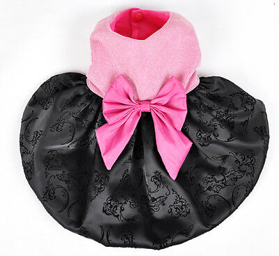 SMALL SIZE ELEGANT BLACK & PINK DOG CLOTHES TEDDY PARTY CLASSIC DOG DRESS 12#