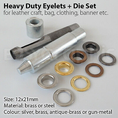 100 Heavy Duty Eyelets Punch Die Tool Set Leather Craft Banner Bags Grommet 12mm
