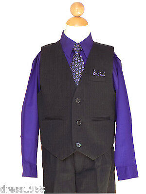 Pinstripe Boy Easter, Recital, Party Vest Suit Set, Purple/Black, Size: 5,6,7