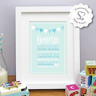 Personalised Bunting New Baby Birth Christening Print or Framed Picture Gift