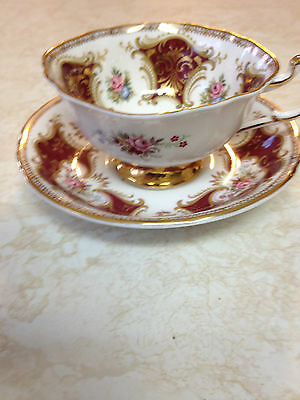 Paragon  Lobed Body Pink Roses Tea  Cup And Saucer