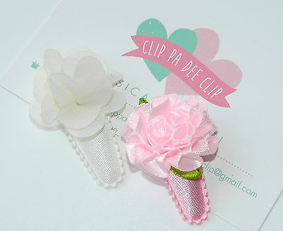 Baby/Toddler Girl Set of 2 ~Molly~ Pink & White Chiffon Flower Hair Clips