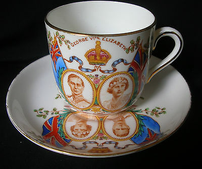 "Lovely Bone China set "" Coronation King George VI.& Queen Elizabeth 1937 ""Tuscan"