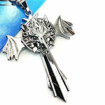 Final Fantasy Cloud Wolf Marks Silver Cross Wing Pendant Necklace Anime Cosplay