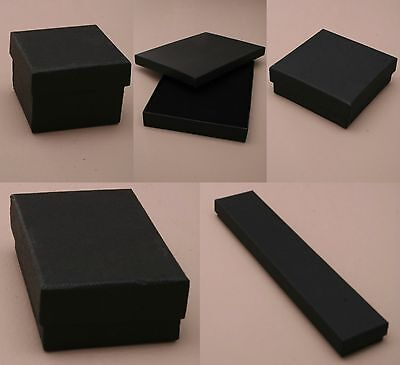 Pack of 12 Black Card Gift Jewellery Boxes Black Insert Wholesale Bulk
