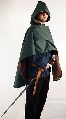 LARP-Cosplay-Gothic-Pagan-Historical-WATERPROOF HOODED CAPE-CLOAK-COWL-ARCHER