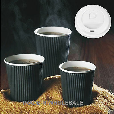 Black Insulated Ripple Hot Drinks Paper Coffee Cups 8oz  Disposable Lids