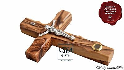 Wall Cross Crucifix Olive Wood Olivewood Bethlehem Holy Land Jerusalem with soil