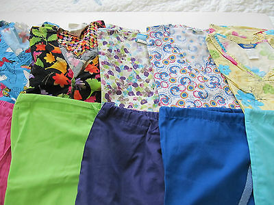 Womans Lot Of Scrub Sets, 5 Tops, 5 Pants, Very Nice    Size S (Box 202)
