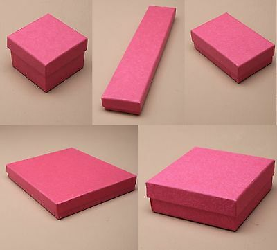 Pack of 12 Hot Pink Card Gift Jewellery Boxes Black Insert Wholesale Bulk
